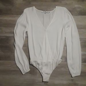 Lovers + Friends White Sheer Wrap Bodysuit